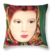 Lady In A Scarf Throw Pillow