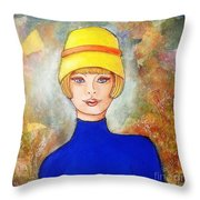 Lady In A Yellow Hat Throw Pillow
