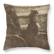 Lady In Black, In A Loge, Facing Right Throw Pillow