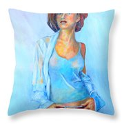 Lady In Blue II Throw Pillow