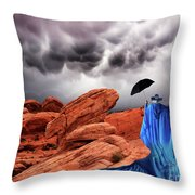 Lady In Blue Nevada Throw Pillow