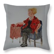 Lady In Chair Throw Pillow