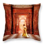 Lady In Golden Gown Walking Through Doorway Throw Pillow