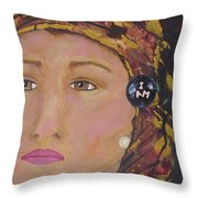 Lady In Head Scarf  Throw Pillow