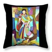 Lady In Mosaic Throw Pillow