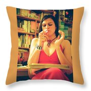 Lady In Read Throw Pillow