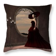 Lady In Red Dress Throw Pillow