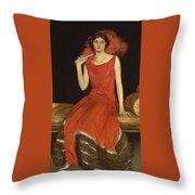 Lady In Red - Mrs Owen Barton Jones Throw Pillow