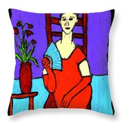 Lady In Red With Fan Throw Pillow