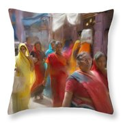 Lady In Summer Yellow Throw Pillow
