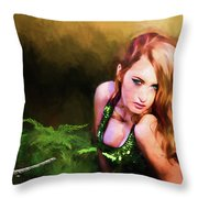 Lady In The Ferns Throw Pillow