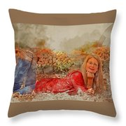 Lady In The Leaves 1 Throw Pillow