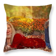 Lady In The Leaves Throw Pillow