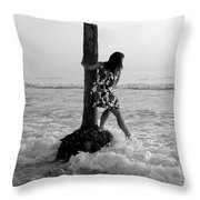 Lady In The Surf Throw Pillow
