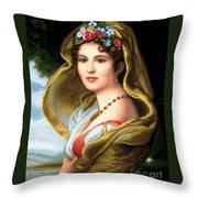Lady In Veil Throw Pillow