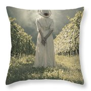 Lady In Vineyard Throw Pillow