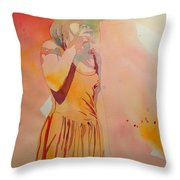 Lady In Yellow Throw Pillow