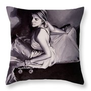 Lady Justice  Black And White Throw Pillow