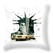 Lady Liberty And The Yellow Cabs Throw Pillow