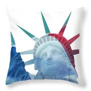 Lady Liberty With French Flag Throw Pillow