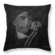 Lady Look At Cello Scroll Throw Pillow