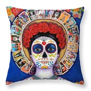 Lady Of The Loteria Throw Pillow