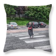 Lady On A Crossing Throw Pillow