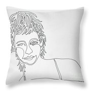 Lady On A Line Throw Pillow