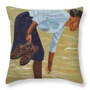 Lady On The Seashore Throw Pillow