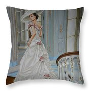 Lady On The Staircase Throw Pillow