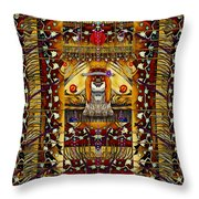 Lady Panda In The Apple Cave With Moon And Meteroits Throw Pillow