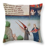 Lady Philosophy Leads Boethius In Flight Into The Sky On The Wings That She Has Given Him Throw Pillow