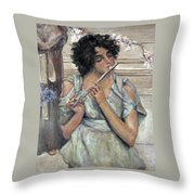 Lady Playing Flute Throw Pillow