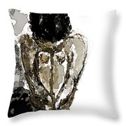 Lady Sitting Throw Pillow