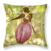 Lady Slipper Blossom Throw Pillow