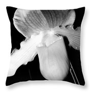 Lady Slipper Orchid Black And White Throw Pillow