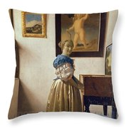 Lady Standing At The Virginal Throw Pillow