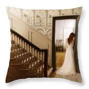 Lady Standing In A Doorway Throw Pillow