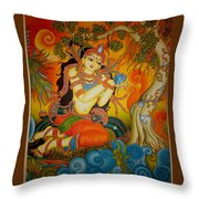 Lady With A Lotus Throw Pillow