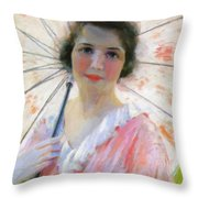 Lady With A Parasol 1921 Throw Pillow