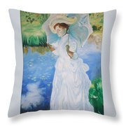 Lady With A Parasole  Throw Pillow