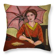 Lady With An Umbrella Throw Pillow