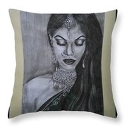 Lady With Bridal Jewelry Throw Pillow