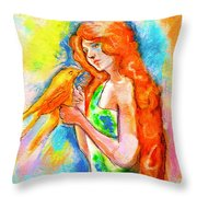 Lady With Canary Throw Pillow