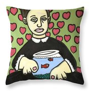 Lady With Fish Bowl Throw Pillow by Thomas Valentine