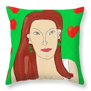 Lady With Green Earrings. Throw Pillow