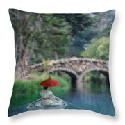Lady With Parasol In Boat Throw Pillow