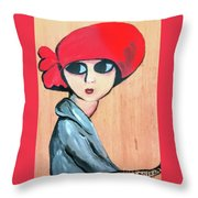 Lady With Red Hat Throw Pillow
