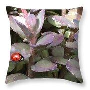 Ladybug Garden Throw Pillow