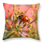 Ladybug On Fennel Throw Pillow
